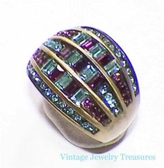 Heidi Daus Pink & Blue Crystal Accented Band Ring Size 9 HSN
