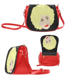 DOLLY PARTON red saddle bag cross body purse pu by kayciwheatley
