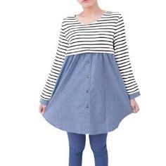 Allegra K Pregnancy Women Scoop Neck Long Sleeves Spliced Denim Striped White Shirt S Allegra K. $15.54