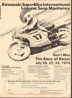 1974 Kawasaki SuperBike International Laguna Seca Monterey Race Ad #e74ga06