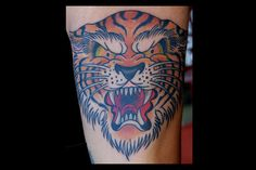tattoo old school / traditional nautic ink - tiger