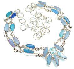 $231.25 Big Dreamer!! Fire Opal Sterling Silver necklace at www.SilverRushStyle.com #necklace #handmade #jewelry #silver #opal