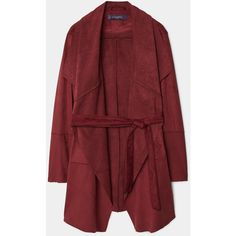 Waterfall Faux Suede Jacket (6285 RSD) ❤ liked on Polyvore featuring outerwear, jackets, coats & jackets, long sleeve jacket, faux suede jacket, red jacket and waterfall jacket