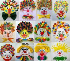 Clown, Arts and Crafts - Arts and Crafts for Teens Source by marijanasugovic Kids Crafts, Clown Crafts, Circus Crafts, Carnival Crafts, Carnival Themes, Crafts For Teens, Diy For Kids, Easy Crafts, Diy And Crafts