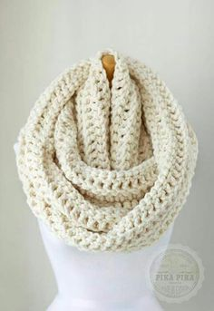 Oversized infinity scarf, oversized chunky eternity scarf in Off White/Vanilla, crochet circle scarves, unisex scarves Crochet Scarves, Knit Crochet, Chunky Scarves, Chunky Knits, Crochet Circles, Poncho, Circle Scarf, Scarf Hat, Winter Fashion
