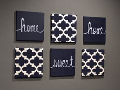 Home Sweet Home Wall Art Pack of 6 Canvas Wall by GoldenPaisley