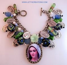 Virgin Mary Mary Mediatrix of All Graces Cameo, Saints Catholic Medals Bracelet www.letyscreations.com