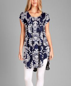 Look at this #zulilyfind! Simply Aster Navy & White Damask Pleated Short Sleeve Tunic - Plus by Simply Aster #zulilyfinds
