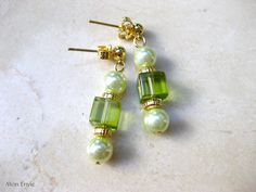 Pale Mint Green Pearls, Light Olive Green Glass Cubes, Post Dangle Earrings. $8.00, via Etsy.