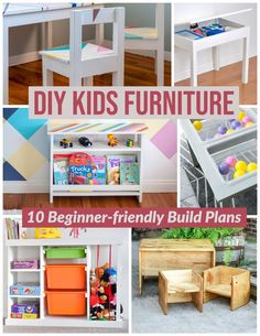 Easy DIY woodworking projects for building kids furniture. These beginner-friendly projects include DIY desk and chair, storage, bench, toy organization , DIY water or Sand table and more! #anikasdiylife #woodworkingprojects