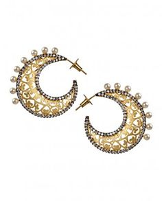 #Exclusivelyin, #IndianEthnicWear, #IndianWear, #Fashion, Crescent Moon Shaped Earrings with Filigree Work