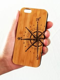 Compass Rose bamboo wood iPhone case.