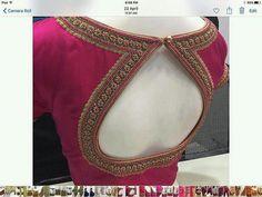 Blouse design with neckline work . Pattu Saree Blouse Designs, Simple Blouse Designs, Stylish Blouse Design, Blouse Back Neck Designs, Fancy Blouse Designs, Bridal Blouse Designs, Lehenga Blouse, Salwar Designs, Designer Blouse Patterns