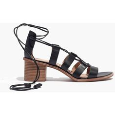 MADEWELL The Daniela Lace-Up Sandal (3.825 CZK) ❤ liked on Polyvore featuring shoes, sandals, true black, black shoes, black block heel sandals, black mid heel sandals, lace up block heel sandals and chunky-heel sandals