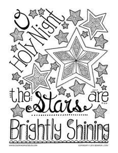 Christmas coloring page for adults. O Holy Night, the stars are brightly shining. This hand drawn coloring page is printable and full of details to color.