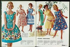 The 1960 Spring/Summer catalogue sees the over-the-knee, full-skirted dress so synonymous with the 60s housewife, advertised in a range of b...