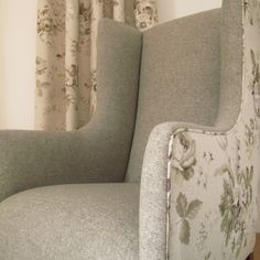 Ladies Winged Armchair | Edwardian vintage design made with a traditional solid wood frame | Available to order in any of our fabrics, or as shown | Designed and crafted by Down Quilt House, Doncaster, UK.