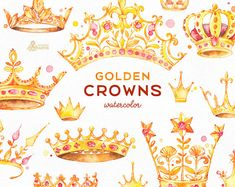 Golden Crowns. 14 Watercolor handpainted Clipart. Royal king