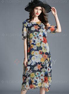 Dresses+-+$54.69+-+Polyester+Floral+Short+Sleeve+Mid-Calf+Vintage+Dresses+(1955111009)