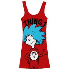 Dr Seuss Cat In The Hat Thing One Mighty Fine Juniors Tank Top ($25) ❤ liked on…