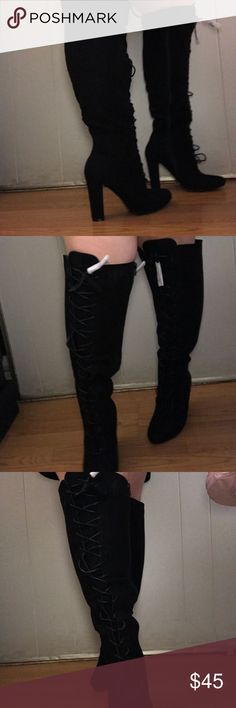Knee high boots Just Fab Knee high boots Just Fab All black with lace up in the front. Love that perfect for adjusting if needed. 7 1/12 Brand new with box JustFab Shoes Over the Knee Boots