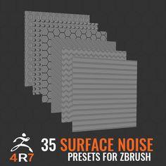 35 Surface Noise for ZBrush 4R7, Omar Chelos on ArtStation at https://www.artstation.com/artwork/qZgwz
