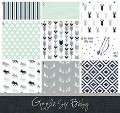 Woodlands Crib Bedding  Woodlands Mint and Navy by GiggleSixBaby