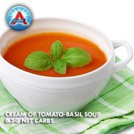 There's nothing like tomato soup! Try it the Atkins way with scallions, garlic and garnished with basil.