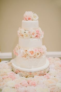 Elegant blush pink wedding cake