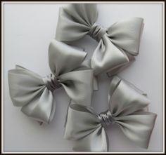 Silver Satin Hair Bow