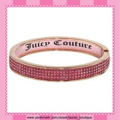 """Juicy Couture Pink Crystal Bangle Bracelet HPNWT Juicy Couture dazzling pink simulated crystal rose gold tone bangle bracelet will glamourize any look!  *Length 8.25"""", """"Juicy Couture"""" pink interior inlay *BANGLES PICTURED ABOVE AVAILABLE TO PURCHASE & BUNDLE IN SEPARATE LISTINGS! *Bundle Discounts, Smoke-Free, No Trades Juicy Couture Jewelry Bracelets"""