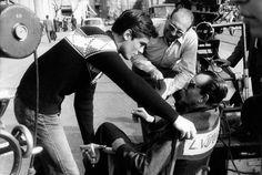 """Alain Delon and Luchino Visconti on the set of """"Rocco e i suoi fratelli"""""""