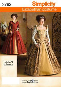 Renaissance Dress Pattern Size 14 Uncut Elizabethan Costume simplicity 3782 for sale online Costume Renaissance, Mode Renaissance, Queen Costume, Costume Dress, Gown Dress, Prom Dress, Wedding Dress, Costume Patterns, Dress Patterns