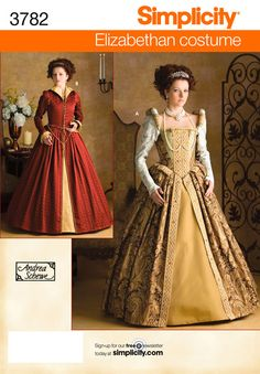 Womens Elizabethan Costume Sewing Pattern 3782 Simplicity - this will be the basis for my halloween costume this year!  With a lot of modifications! yay