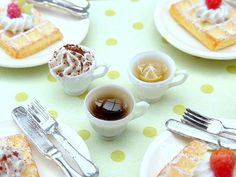 Three Filled Cups - Coffee, Creamy Cappuccino, Lemon Tea - Handmade Miniature Food in 12th Scale