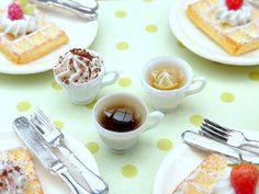 Three Filled Cups - Coffee, Creamy Cappuccino, Lemon Tea - Handmade Miniature Food in 12th Scale