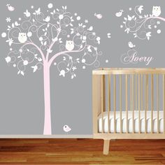 Custom Listing Pink Swirl Tree with Daisy Flowers by wallartdesign