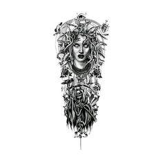 Tattoo Designs Gallery of Artwork and Videos Medusa Tattoo Sleeve Design Chicano Tattoos Sleeve, Chicano Style Tattoo, Leg Sleeve Tattoo, Sleeve Tattoos For Women, Rose Tattoos, Leg Tattoos, Body Art Tattoos, Celtic Tattoos, Filigree Tattoo