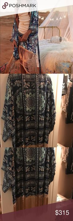 Rare Spell Pandora kimono Rare Spell Pandora night garden kimono. Fringe trimmed a bit shorter, half length. Great condition! Price firm due to posh fees Spell & The Gypsy Collective Other