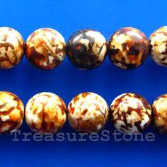 Bead, brown agate (dyed), 14mm round. TreasureStone Beads Edmonton
