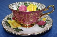 Royal-Albert-Pink-Yellow-Rose-Gold-Cup-amp-Saucer-Set-Vtg-Bone-China-Chintz Cup And Saucer Set, Tea Cup Saucer, Tea Cups, Gold Cup, Bone China, China China, Teapots And Cups, Coffee Set, Royal Albert