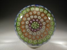 Perthshire Labeled Concentric Millefiore Pattern Large Art Glass Paperweight