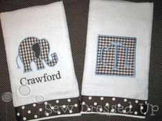 Monogrammed Burp Cloth Set for Baby Boys - Brown Gingham Elephant - Embroidered Personalized Gift Set. $22.00, via Etsy.