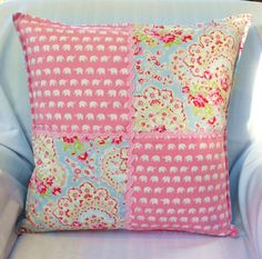 PATCHWORK CUSHION,  patchwork pillow, By Kerry Jayne, Cath kidston fabric, ricrac braid, pink elephants, girls room, kids room, gift ideas