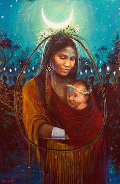 The mystical, fantastical, spiritual art of Annelie Solis. About the artist. Native Art, Native American Indians, Art Visionnaire, Mother Goddess, Sacred Feminine, Goddess Art, Mystique, Madonna And Child, Visionary Art