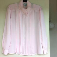e2d84fe5093 Joanna vintage baby pink secretary blouse with ribbed front