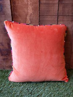 Orange Velvet Cushion piped all around with ANY of our beautiful striped fabrics. Selection Boxes, Velvet Cushions, Cotton Velvet, Striped Fabrics, Stripes, Throw Pillows, Orange, Beautiful, Color