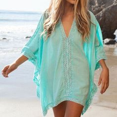 New Lace Beach Cover up Cotton V-neck Bikini Cover Ups Women Swimsuit Covers up Beachwear Beach Tunic Bathing Suit Coverups