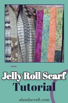 Learn how to make an attractive Jelly Roll Scarf for those cold wintry days. Quilting Tutorials, Craft Tutorials, Sewing Tutorials, Sewing Patterns, Diy Sewing Projects, Sewing Projects For Beginners, Sewing Crafts, Jelly Roll Projects, Sewing Accessories