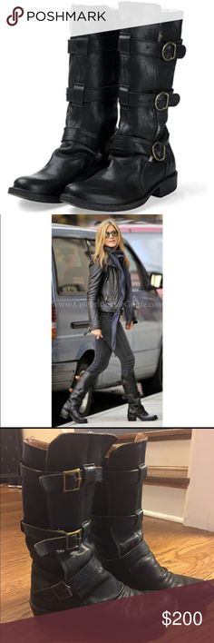 36 Fiorentini + Baker Black Eternity Buckle Boots Authentic Black leather Fiorentini + Baker Eternity Moto boots in size 36. As seen on tons of celebrities (Jennifer Anniston, Kate Beckinsale, Halle Berry, etc...) these boots are made to look old and worn. They are extremely comfortable and do run slightly large. So the size 36 is closer to a 6.5-7 in US sizing. Get 'em just in time for Fall!! Fiorentini + Baker Shoes Combat & Moto Boots